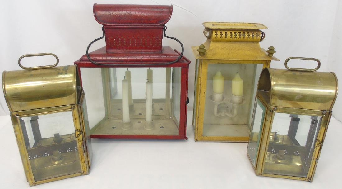 Group of 4 Candle Lanterns 2 Brass & 2 Painted