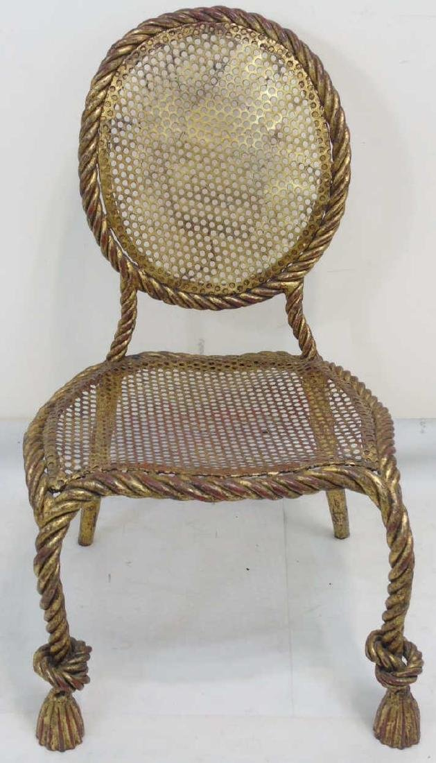 Designer Gilt Metal Rattan Look French Style Chair