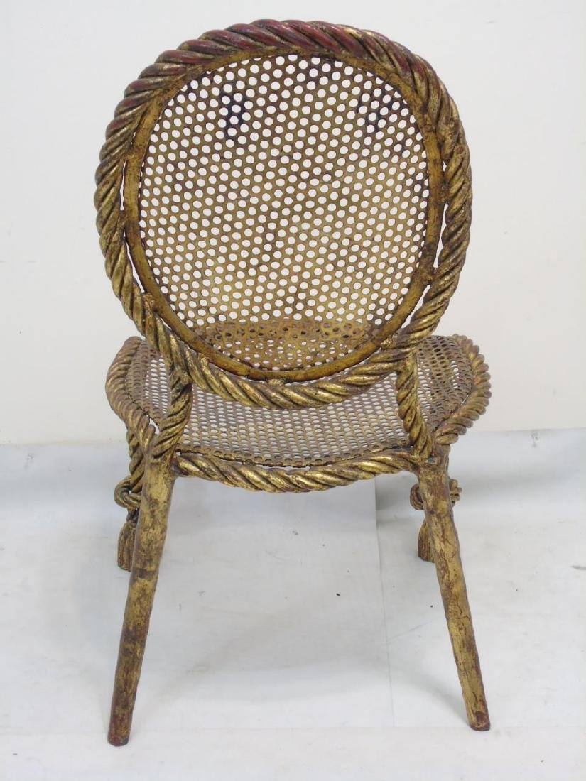 Designer Gilt Metal Rattan Look French Style Chair - 2