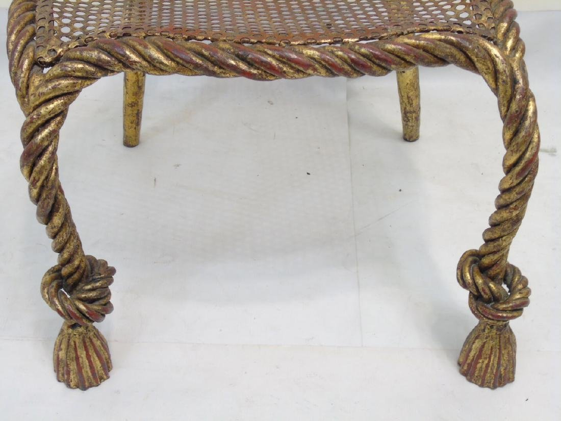 Designer Gilt Metal Rattan Look French Style Chair - 3