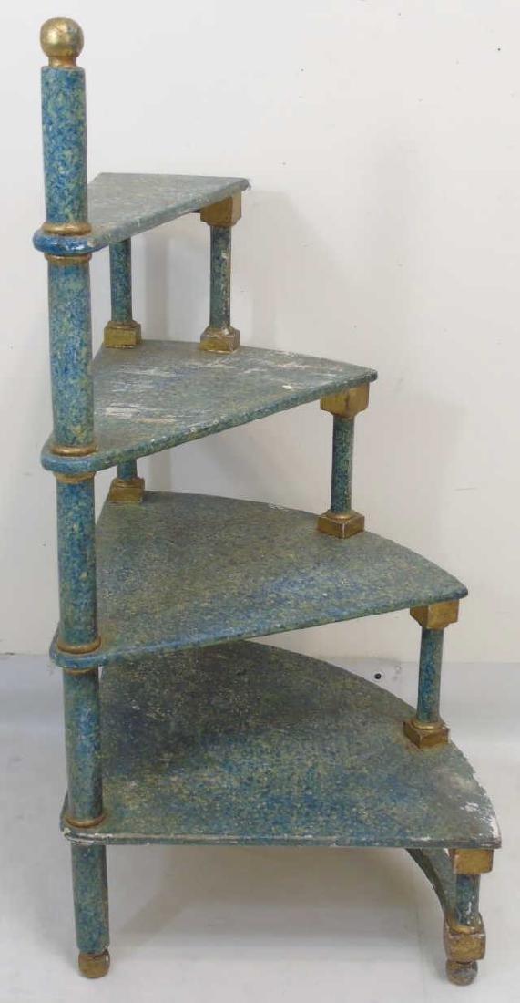 4 Step Hand Sponge-Painted Spiral Display Shelf