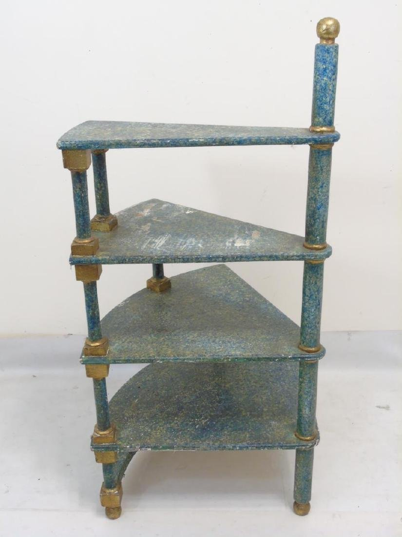 4 Step Hand Sponge-Painted Spiral Display Shelf - 2