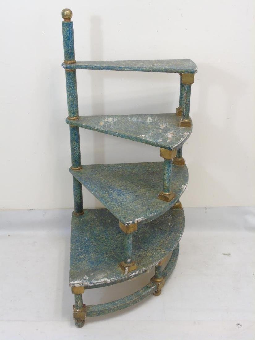 4 Step Hand Sponge-Painted Spiral Display Shelf - 3