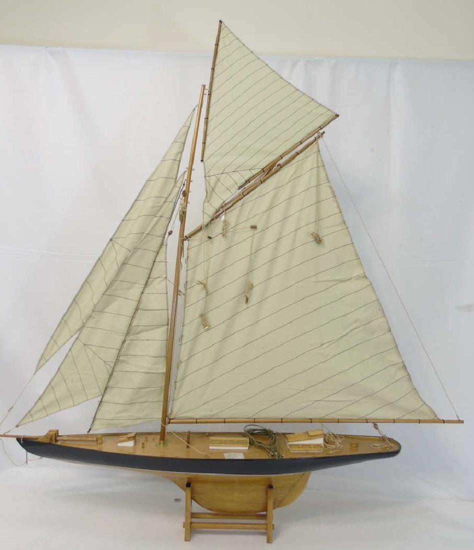 Brand New Navy Blue Model Mahogany Yacht w Sails