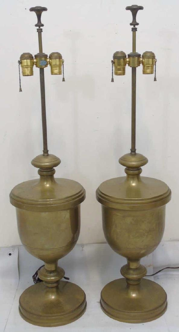 Pair Neo Classical Style Urn Form Brass Table Lamp