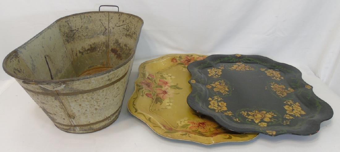 2 Antique Tole Metal Trays & Large Painted Bucket
