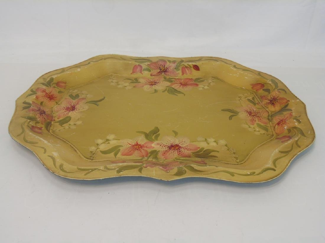 2 Antique Tole Metal Trays & Large Painted Bucket - 2