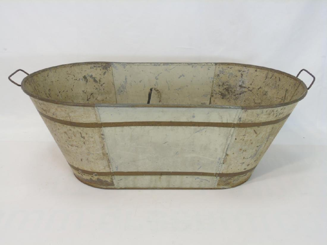 2 Antique Tole Metal Trays & Large Painted Bucket - 3