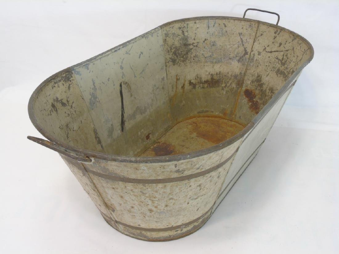 2 Antique Tole Metal Trays & Large Painted Bucket - 4