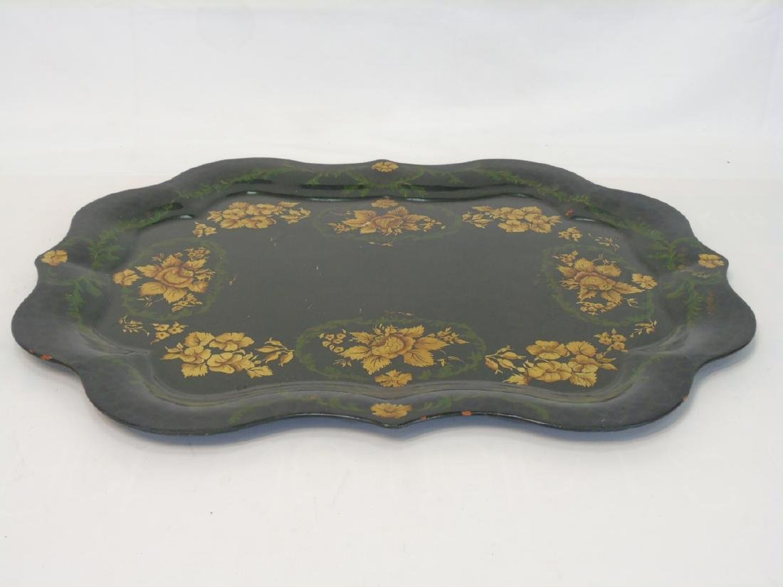 2 Antique Tole Metal Trays & Large Painted Bucket - 5