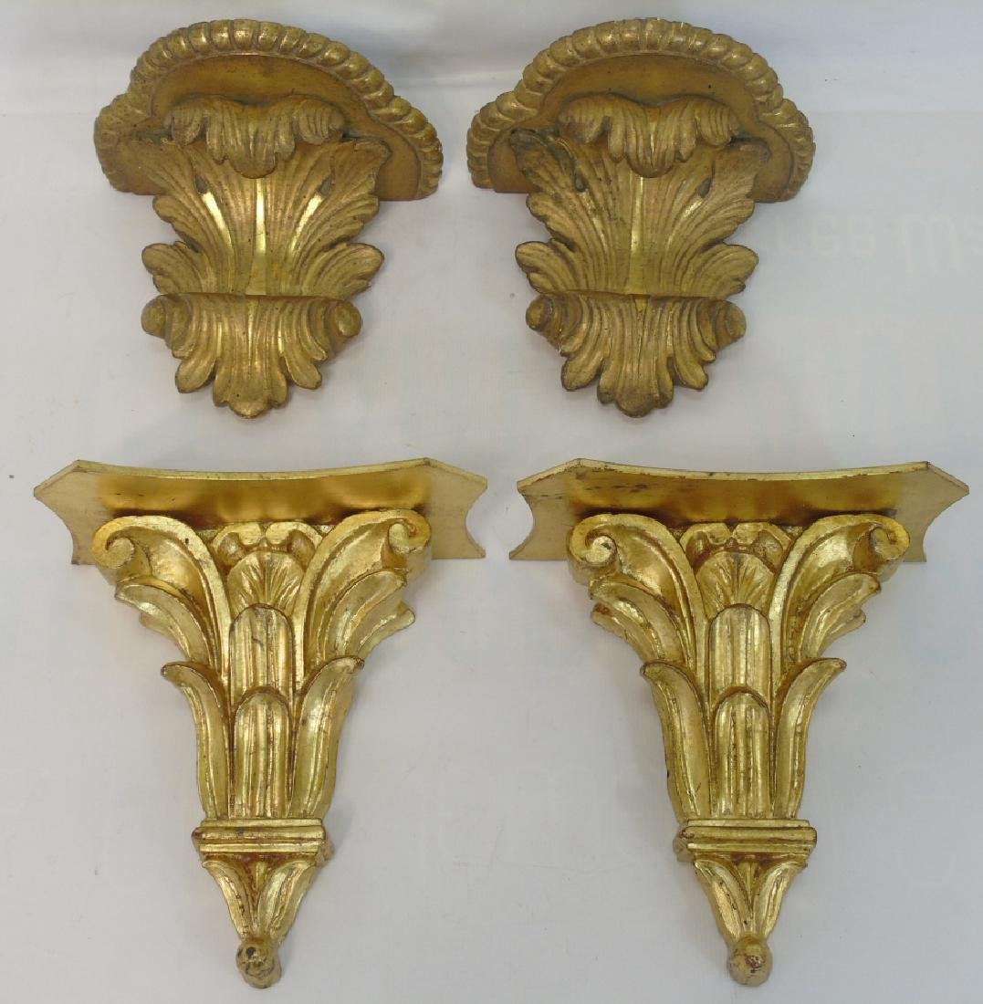 2 Pairs Neo Classical Style Wall Bracket Shelves