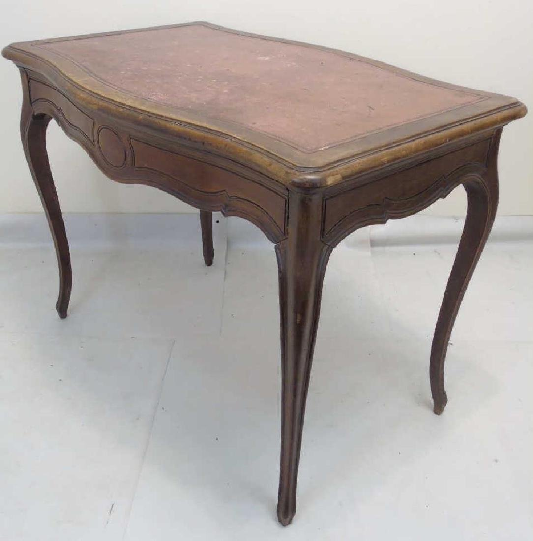 Antique Bow Front French Leather Top Desk