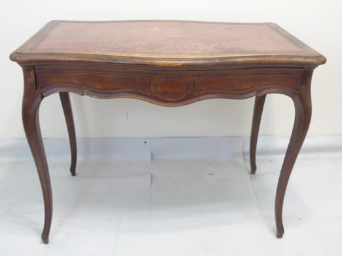 Antique Bow Front French Leather Top Desk - 2