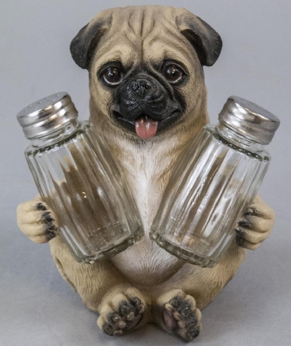 Figural Pug Dog Statue for Salt & Pepper Shakers