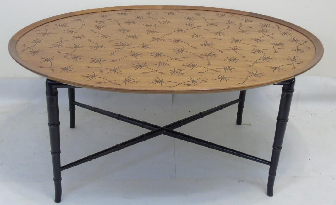Contemporary Oval Cocktail Table w Bamboo Legs