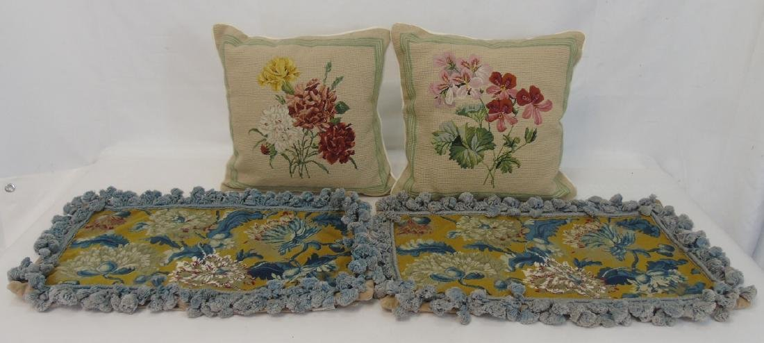 Pair of Needlepoint Pillows & Pair of Covers