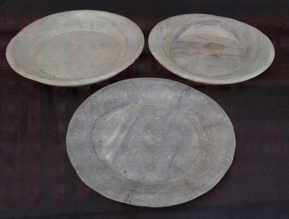 3 Lillian August Flat Marble Bowls
