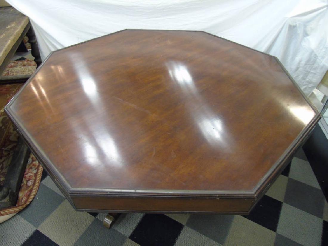 Vintage Octagonal Mahogany Dining Pedestal Table - 2
