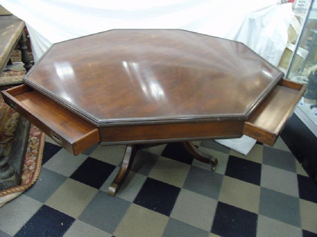 Vintage Octagonal Mahogany Dining Pedestal Table - 3