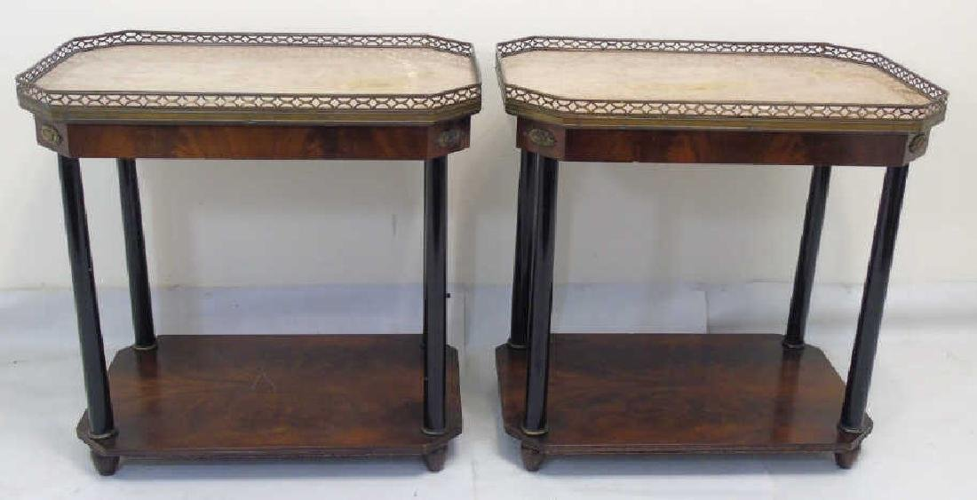 Pair Antique Galleried End Tables w Marble Tops
