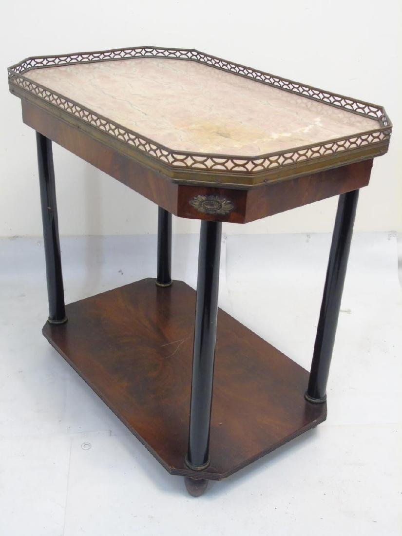 Pair Antique Galleried End Tables w Marble Tops - 2
