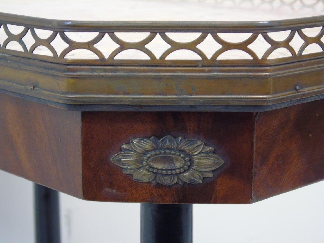 Pair Antique Galleried End Tables w Marble Tops - 3