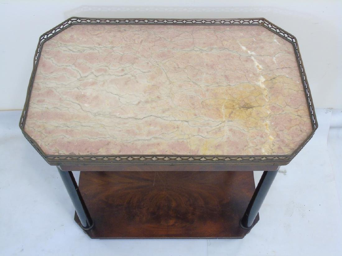 Pair Antique Galleried End Tables w Marble Tops - 5