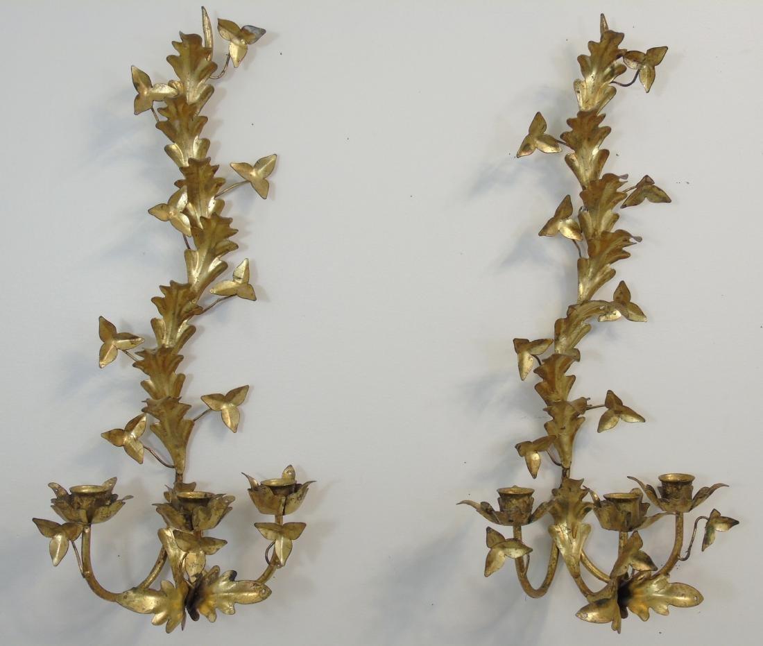 Pair Gilt Metal Floral Candle Sconces