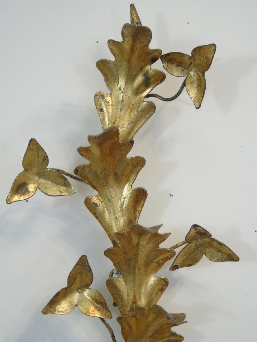 Pair Gilt Metal Floral Candle Sconces - 2