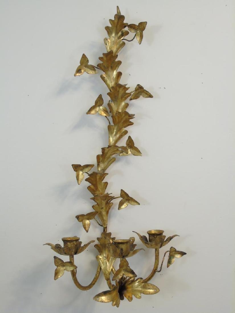 Pair Gilt Metal Floral Candle Sconces - 3
