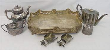 Antique Vintage Silver Plate Serving Items on Tray