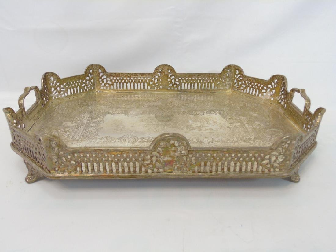 Antique Vintage Silver Plate Serving Items on Tray - 3