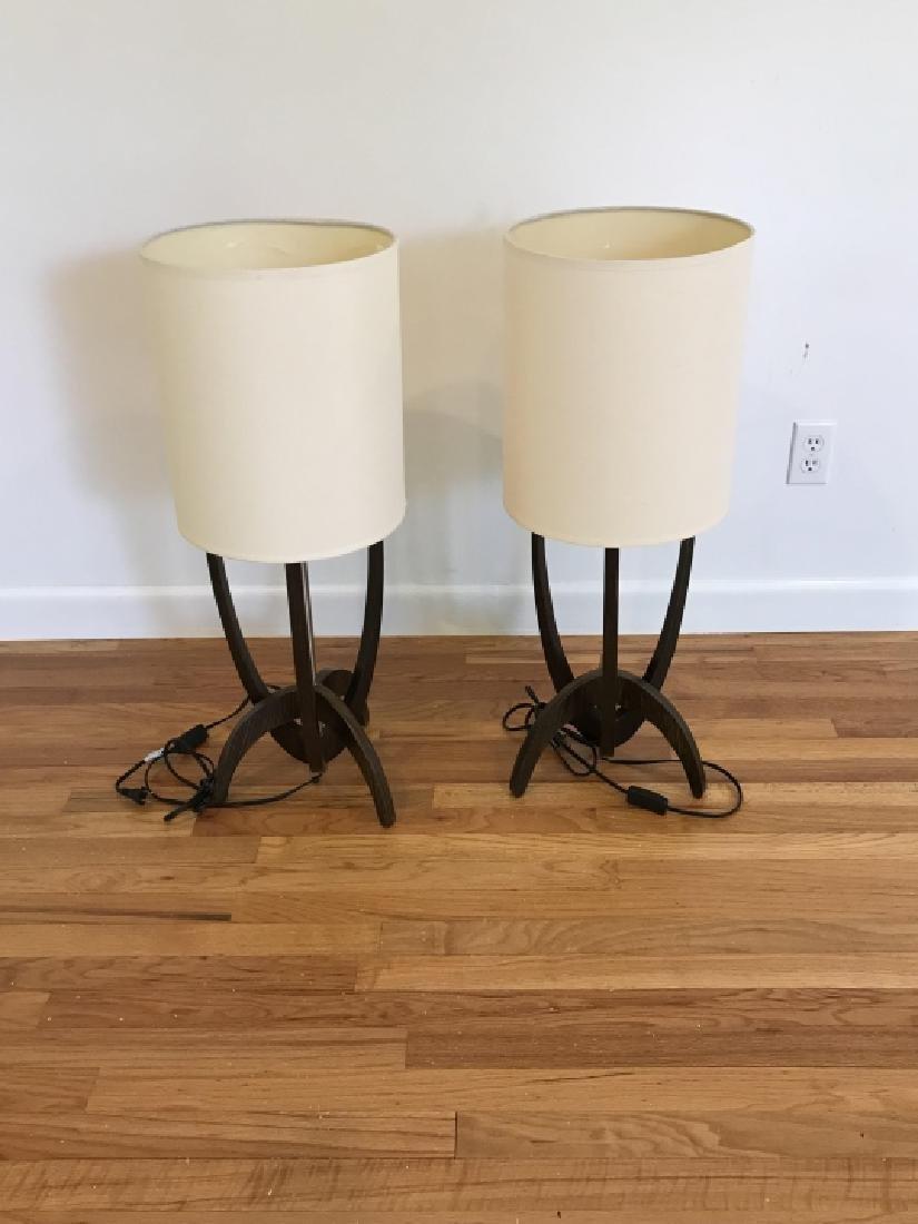 Pair Modernist Walnut & Chrome Table Lamps - 2