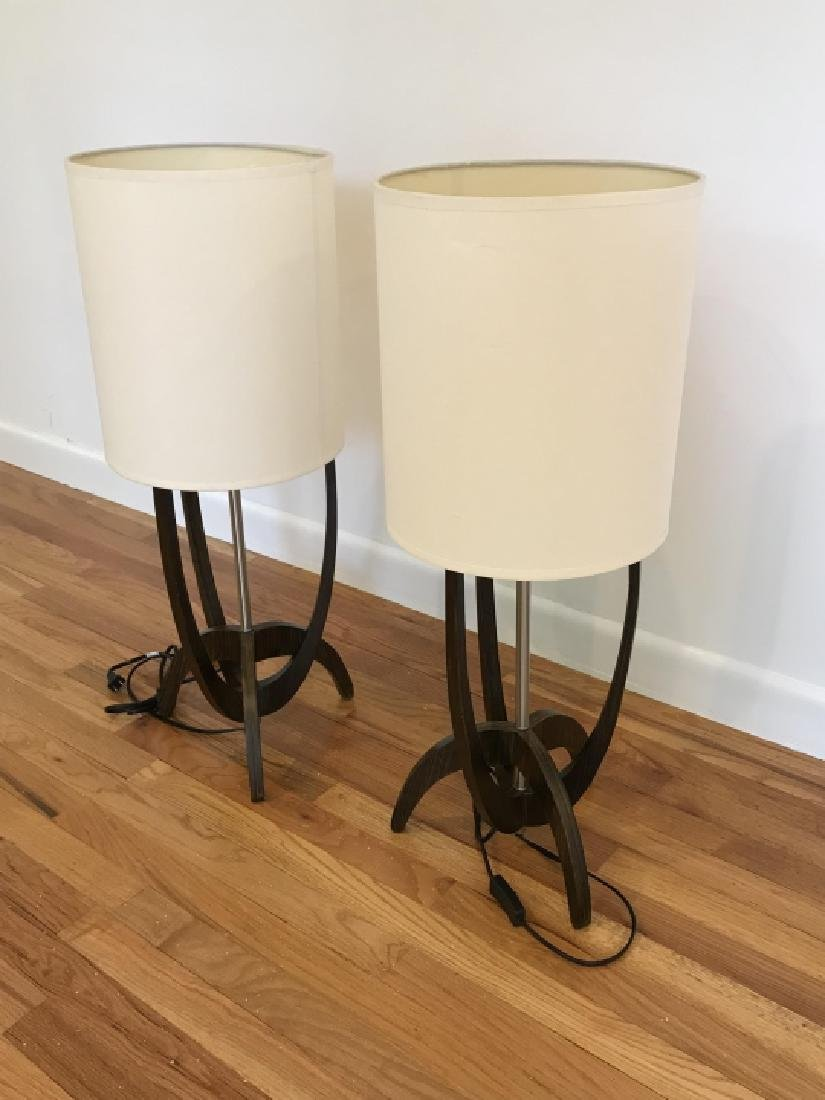 Pair Modernist Walnut & Chrome Table Lamps - 3