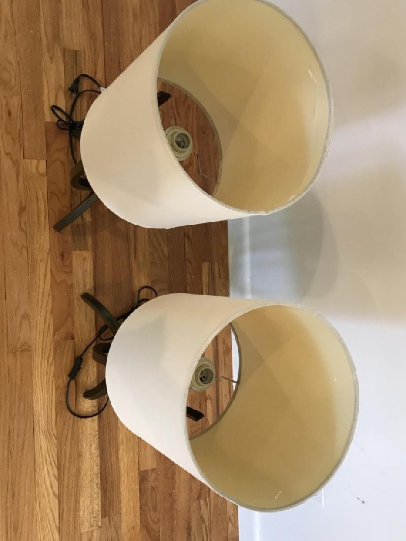 Pair Modernist Walnut & Chrome Table Lamps - 4