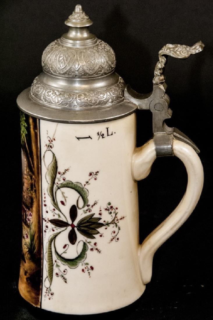 Antique Hand Painted German Stein w Lithophane