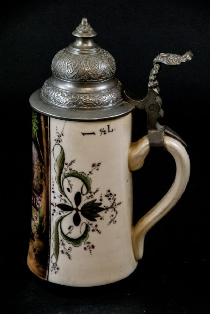 Antique Hand Painted German Stein w Lithophane - 2