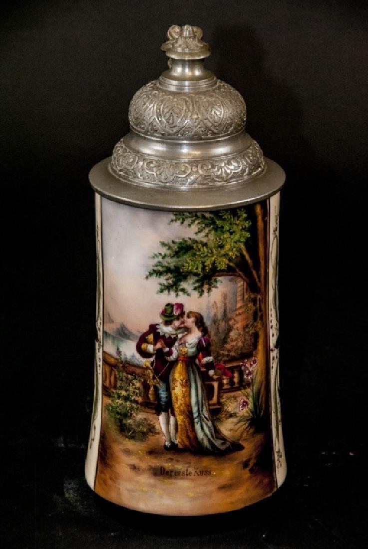Antique Hand Painted German Stein w Lithophane - 4