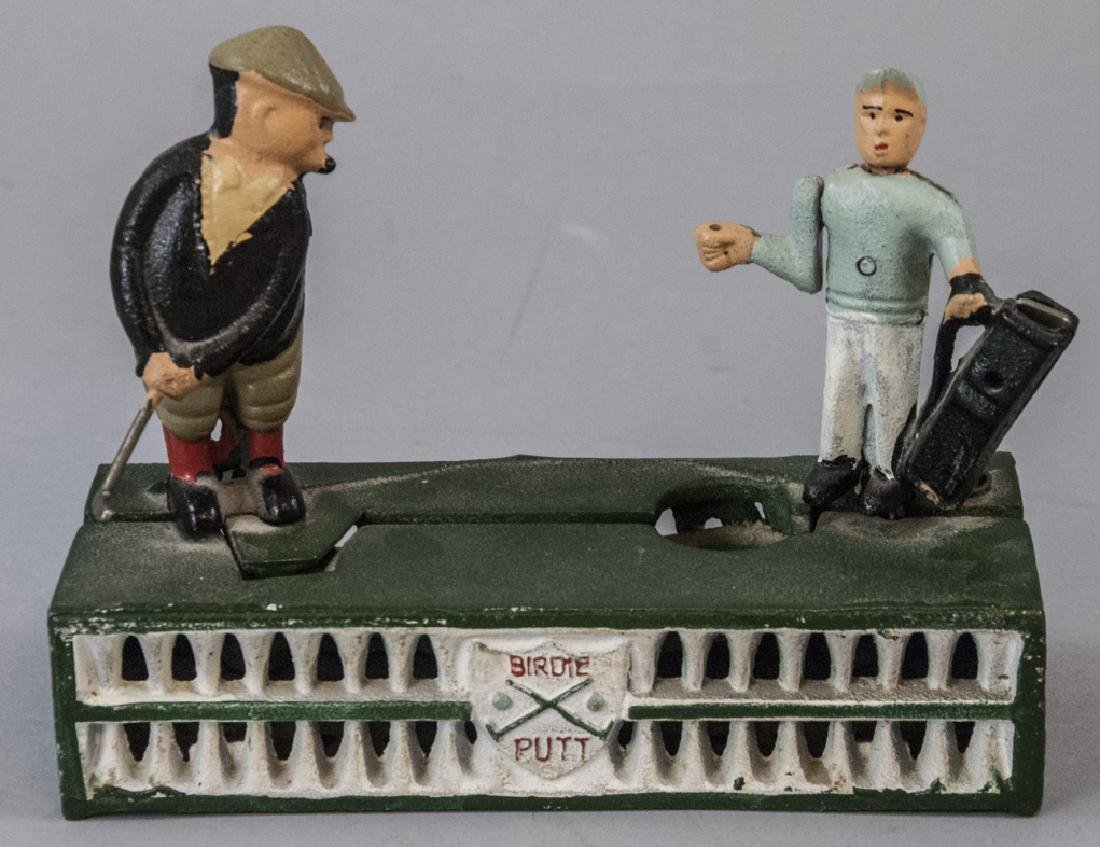 Hand Painted Cast Iron Bank of a Golfer & Caddy