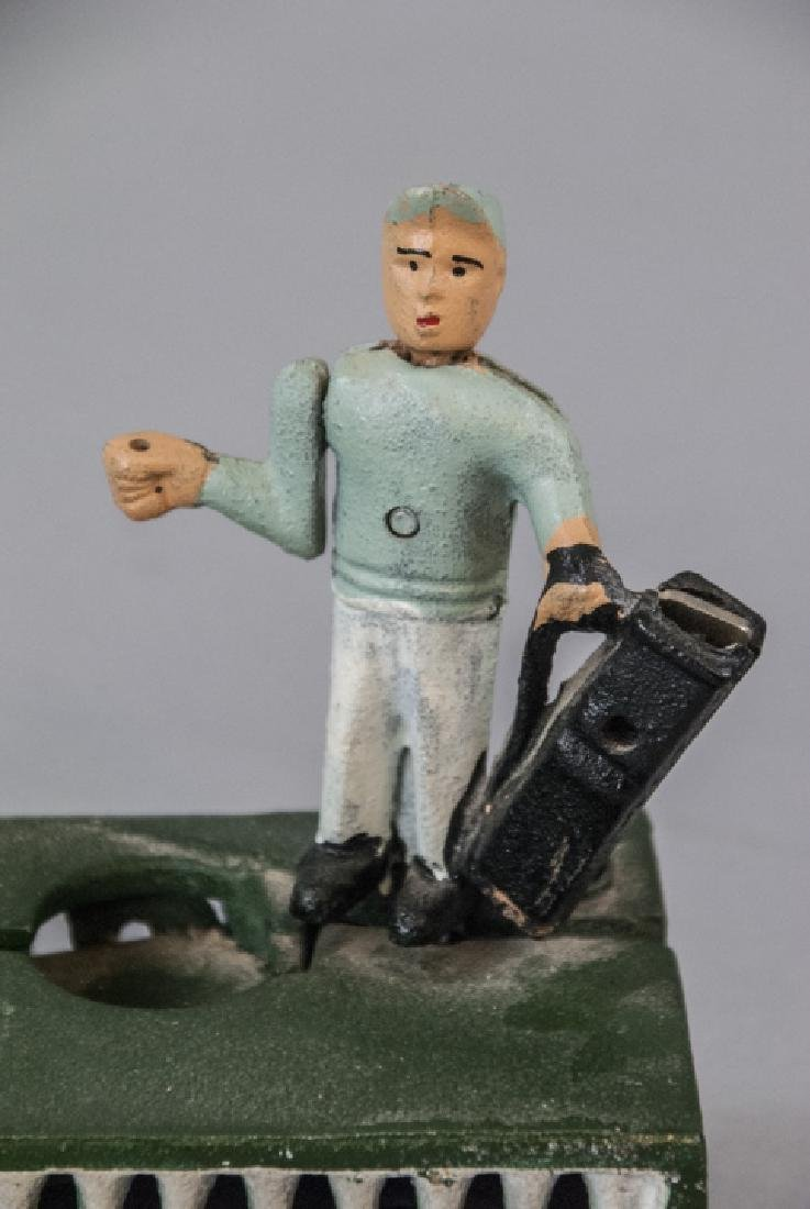 Hand Painted Cast Iron Bank of a Golfer & Caddy - 3