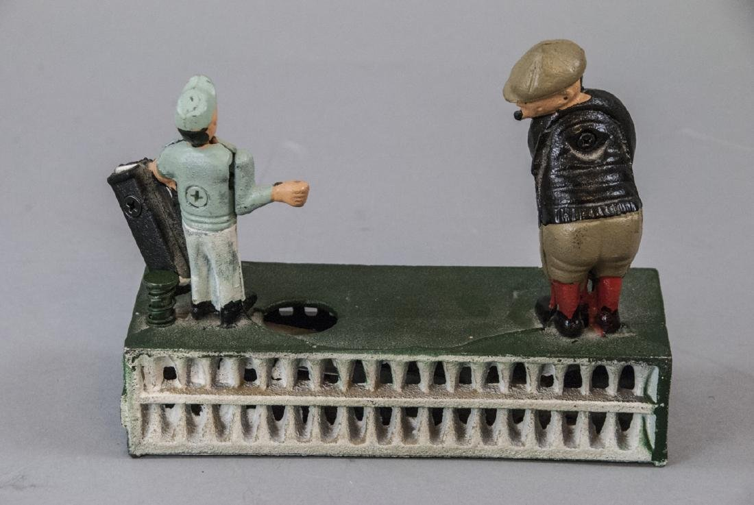 Hand Painted Cast Iron Bank of a Golfer & Caddy - 5