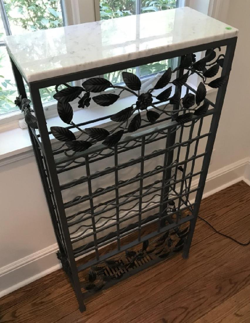 Marble Top Wrought Iron Wine / Champagne Rack