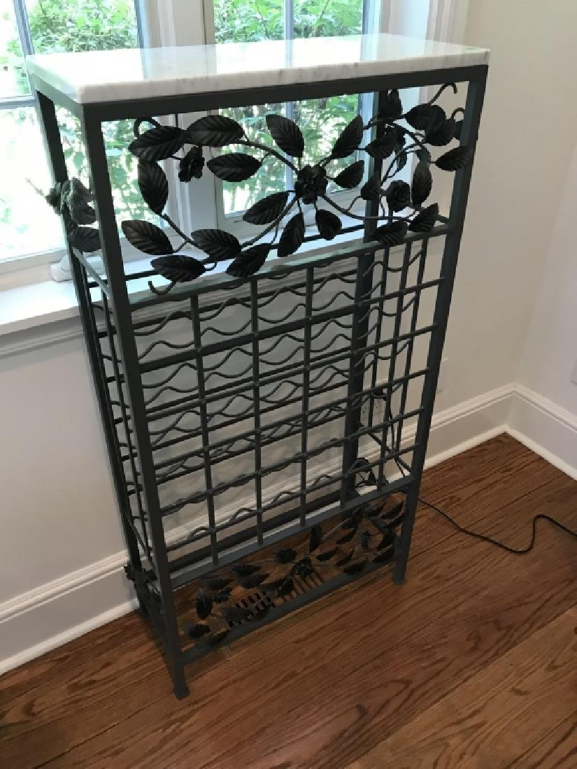 Marble Top Wrought Iron Wine / Champagne Rack - 3