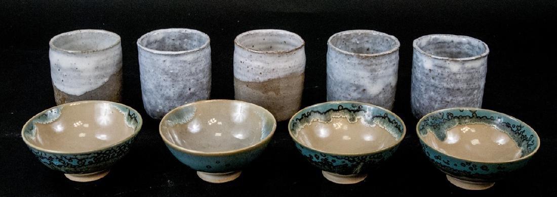 Japanese Kyushu Mid Century Pottery Bowls,Tea Cups