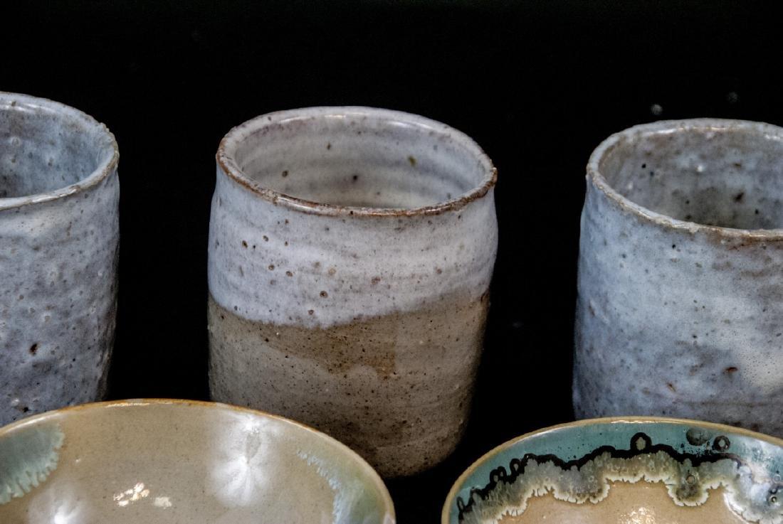 Japanese Kyushu Mid Century Pottery Bowls,Tea Cups - 2