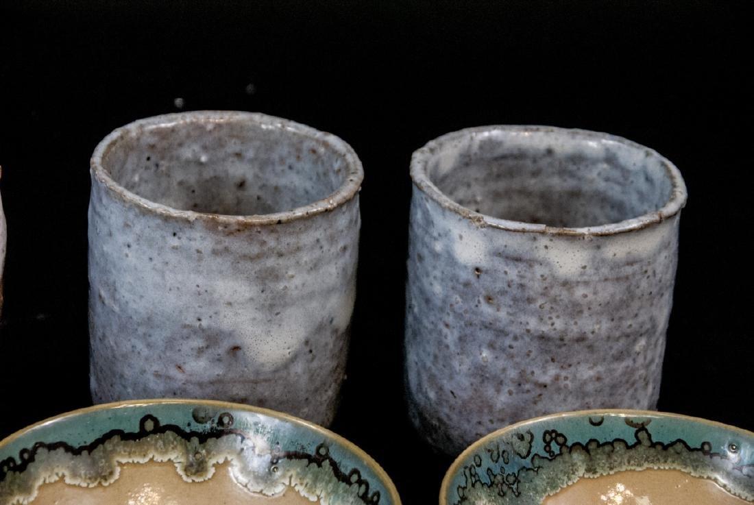 Japanese Kyushu Mid Century Pottery Bowls,Tea Cups - 3