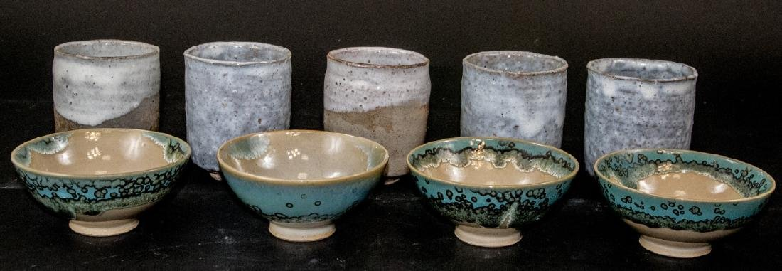 Japanese Kyushu Mid Century Pottery Bowls,Tea Cups - 5