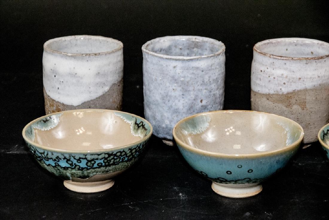 Japanese Kyushu Mid Century Pottery Bowls,Tea Cups - 6