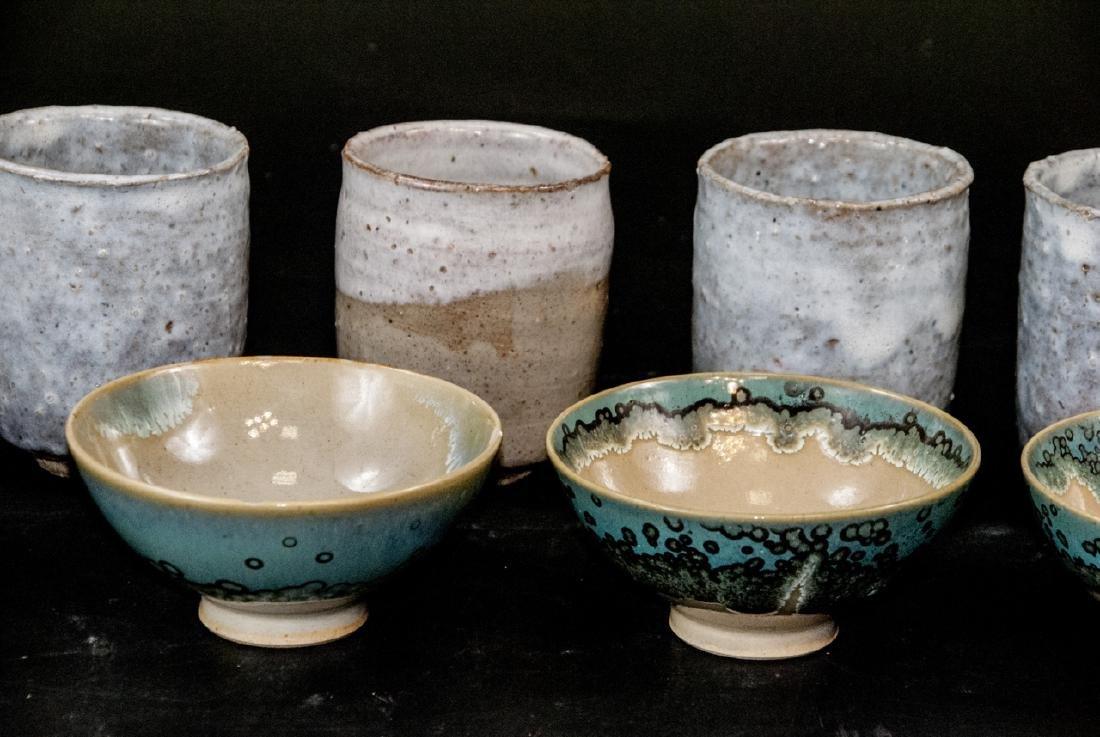 Japanese Kyushu Mid Century Pottery Bowls,Tea Cups - 7