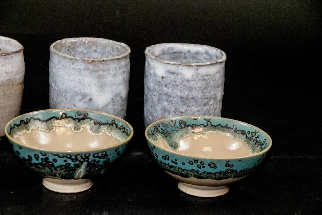 Japanese Kyushu Mid Century Pottery Bowls,Tea Cups - 8